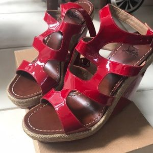 Red patent leather wedge sandal size 10